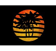 Palm Trees Grunge Sunset Photographic Print