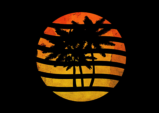 Palm Trees Grunge Sunset by Denis Marsili