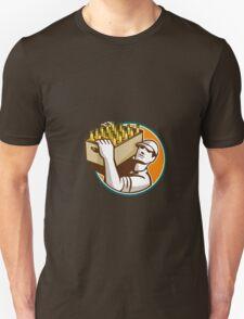 Bartender Carrying Beer Case Retro Unisex T-Shirt