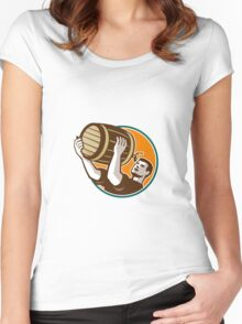 Bartender Pouring Drinking Keg Barrel Beer Retro Women's Fitted Scoop T-Shirt