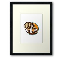 Bartender Pouring Drinking Keg Barrel Beer Retro Framed Print