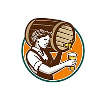 Woman Bartender Pouring Keg Barrel Beer Retro by patrimonio