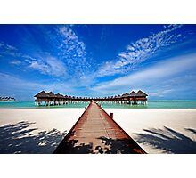 Idyllic Symmetry. Water Villas. Maldives Photographic Print