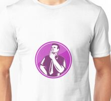 Businessman Holding Chin Woodcut Unisex T-Shirt