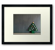 Lonely Wooden Christmas Tree on a dark grey background Framed Print