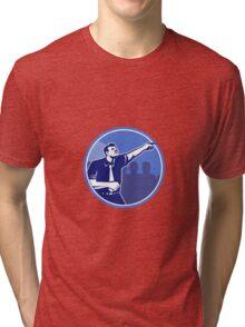 Businessman Pointing Forward Woodcut Tri-blend T-Shirt