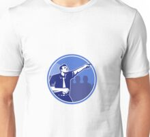 Businessman Pointing Forward Woodcut Unisex T-Shirt