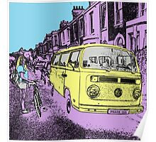 Girl with Bike and Camper Van Poster