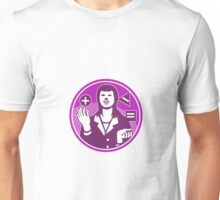 Office Worker Businesswoman Juggling Woodcut Unisex T-Shirt