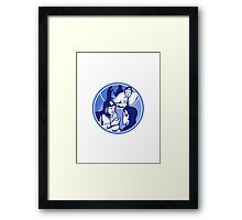 Office Worker Businesswoman Discussion Woodcut Circle Framed Print