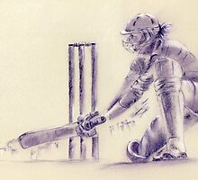 Women's cricket - original pastel drawing Danni Wyatt by Paulette Farrell