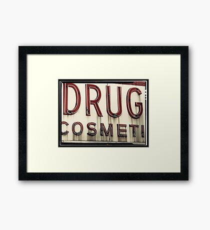 Drugs Cosmetics old New York City Sign Framed Print