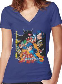 Mega Man 3 Japanese Ad art (Rockman 3) shirt NES / Famicom Women's Fitted V-Neck T-Shirt