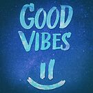 Good Vibes - Funny Smiley Statement / Happy Face (Blue Stars Edit) by badbugs
