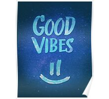 Good Vibes - Funny Smiley Statement / Happy Face (Blue Stars Edit) Poster