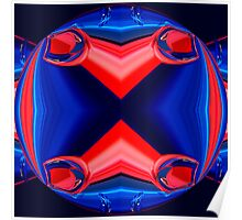 blue & red symmetry 001 Poster