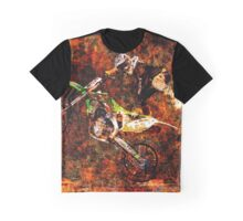 Freestyle Motocross Rider on Fire Graphic T-Shirt