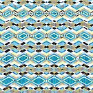 Blue Geometric Aztec Pattern by silvianeto