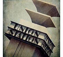 Art Deco Union Station Neon Sign Photographic Print