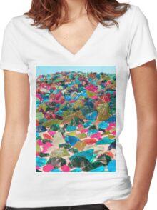 Glass Rocks Women's Fitted V-Neck T-Shirt
