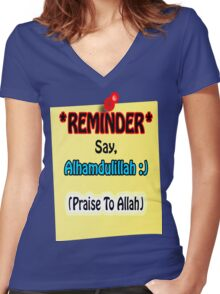 Reminder Say Alhamdulillah (Praise To Allah) Tshirt Women's Fitted V-Neck T-Shirt