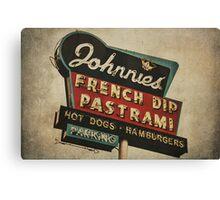 Johnnie's French Dip Vintage/Retro Sign Canvas Print