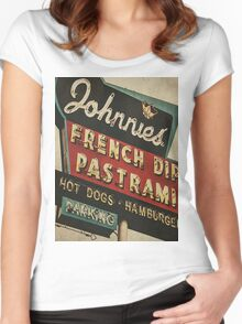 Johnnie's French Dip Vintage/Retro Sign Women's Fitted Scoop T-Shirt