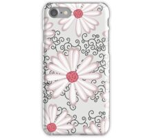 Hot Pink Silver and Black Floral Daisy Design iPhone Case/Skin