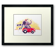 Car Trip - Rondy the Elephant driving his car Framed Print