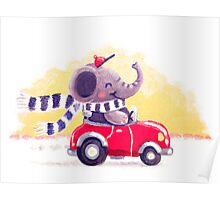 Car Trip - Rondy the Elephant driving his car Poster