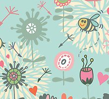 Illustrated Spring Flowers and Bees by pjwuebker