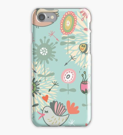 Illustrated Spring Flowers and Bees iPhone Case/Skin