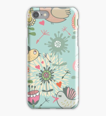 Illustrated Birds and Spring Flowers iPhone Case/Skin