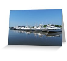 Ten Boats In A Row Greeting Card