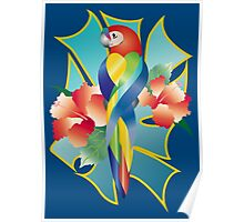 Pretty Rainbow Parrot Tropical Orange Hibiscus Flowers Poster