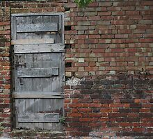 Rustic Wooden Door in a Brick Wall by Goerzen