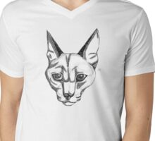 Caracal Cat Mens V-Neck T-Shirt