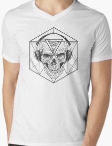 Abstract Skull Art Mens V-Neck T-Shirt