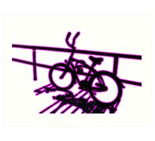 Boardwalk Bicycle Pink Art Print