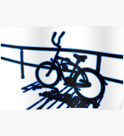 Boardwalk Bicycle Blue Poster