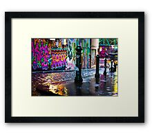 Bollards in a Rainy Graffiti Lane Framed Print