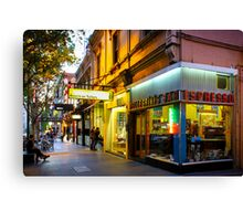 Espresso Bar Cafe on a City Street Canvas Print