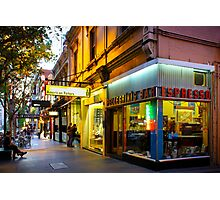 Espresso Bar Cafe on a City Street Photographic Print