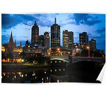 Melbourne Skyline at Dusk Poster