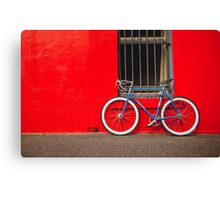 Fixed Gear (Fixie) Bicycle Against a Red Wall Canvas Print