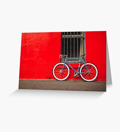 Fixed Gear (Fixie) Bicycle Against a Red Wall Greeting Card