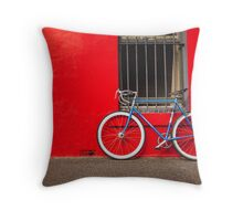 Fixed Gear (Fixie) Bicycle Against a Red Wall Throw Pillow