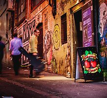 Guy with Guitar Walks out of Cherry Bar in ACDC Lane, Melbourne by jamjarphotos