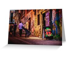 Guy with Guitar Walks out of Cherry Bar in ACDC Lane, Melbourne Greeting Card