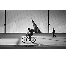 Cyclist and Pedestrian Travel in the Same Direction at Melbourne Museum Photographic Print